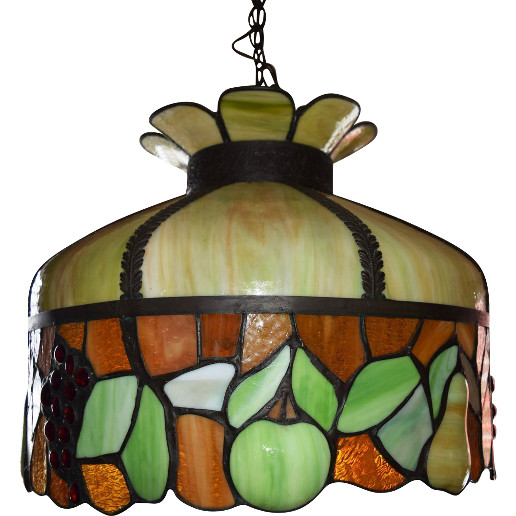 Antique Leaded Stained Glass Chandelier Fruit Motif ca. 1890
