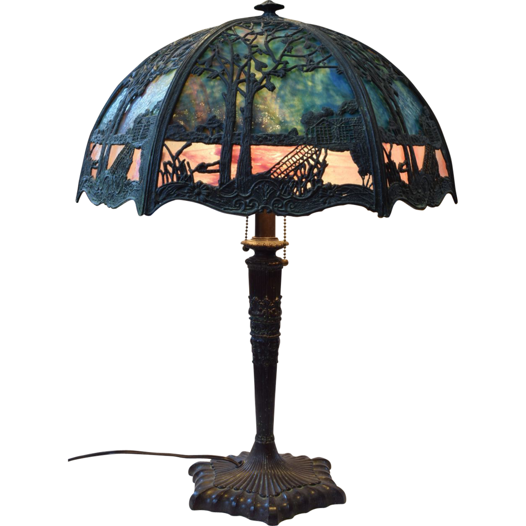 Vintage Overlay Cast Iron Table Lamp With Filigree Scenic Overlay