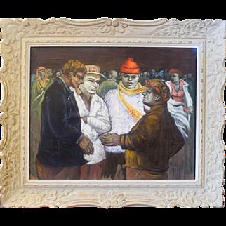 "Albert Pels ""A Hand Shake"" Oil on Canvas"
