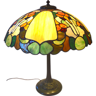 Duffner and Kimberly (Gourd Pattern) Leaded Stain Glass Table Lamp