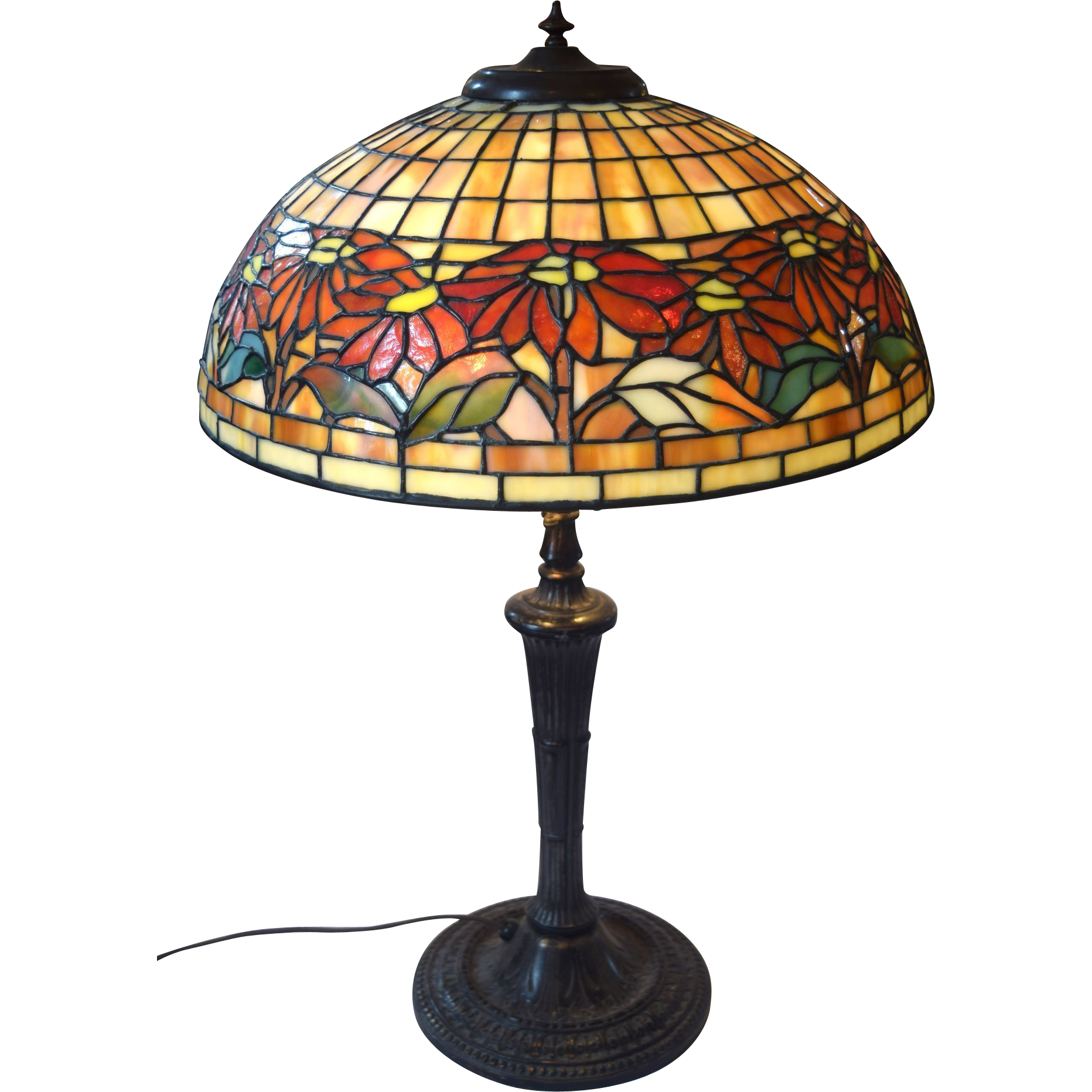 Miller And Unique Art Glass Leaded Shade Lamp Base Signed