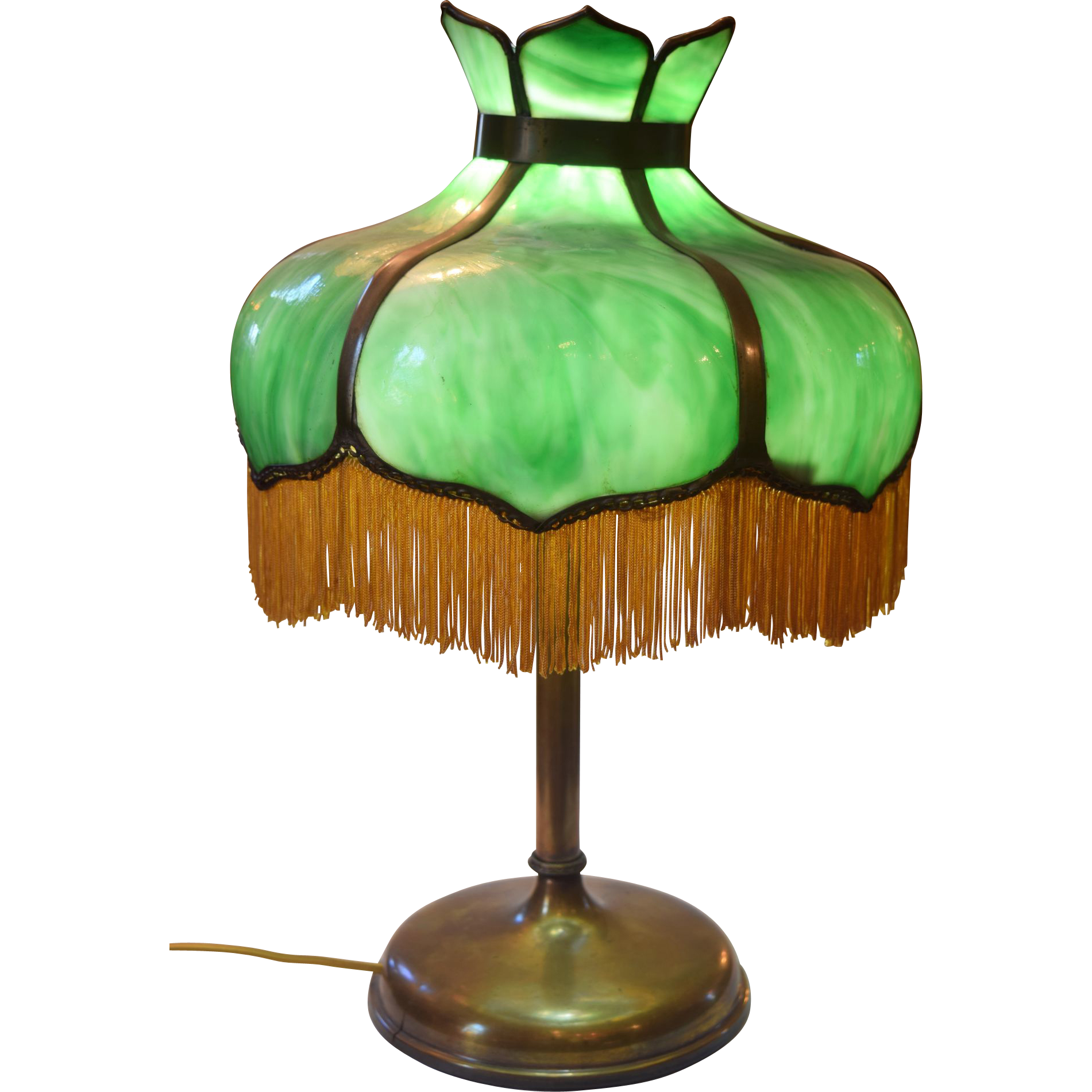Antique Green Slag Glass Table Lamp With Fringe