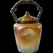 Loetz Art Glass Co. Nouveau Iridescent Glass Biscuit Jar