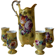 Hand Painted Pitcher and Cup China Set