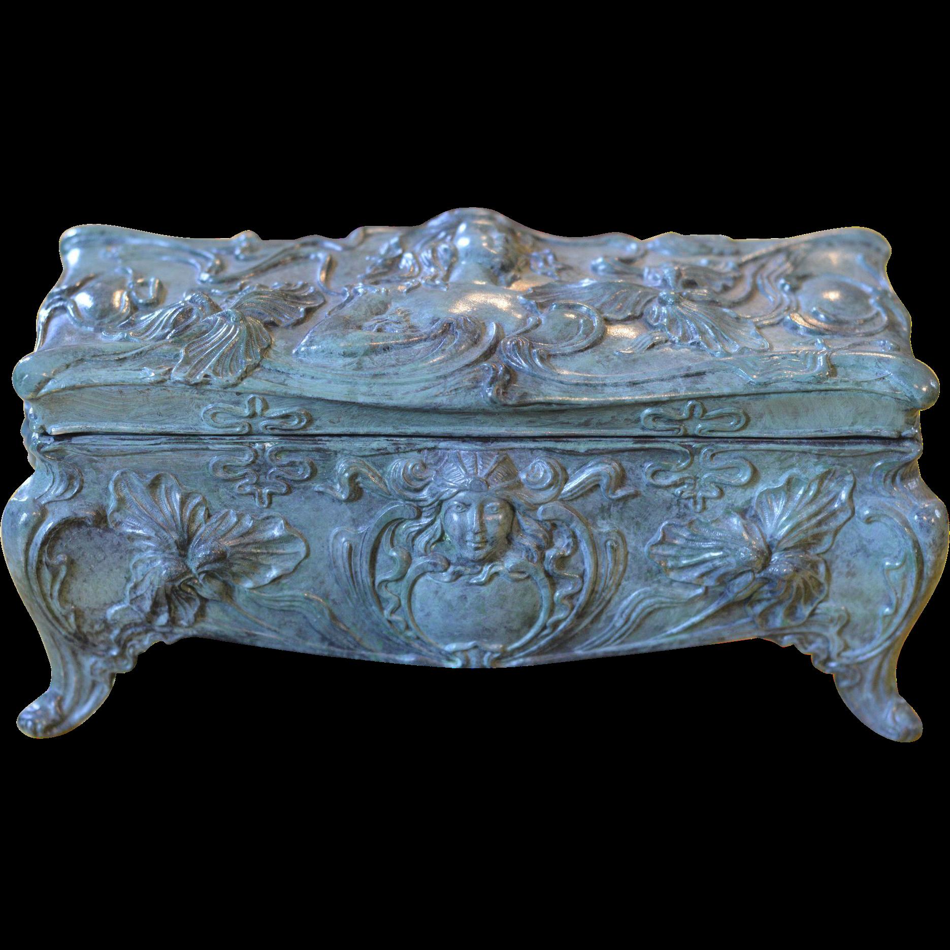 French Coffin Jewelry Box ca. 1925