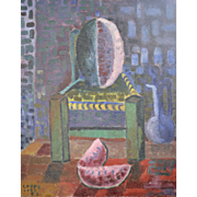 Luis Loza-Lopez Abstract Still Life Oil on Canvas Dated 1957