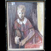 """Carol Wald """"Karen in a Red Dress"""" Pastel 1960"""