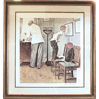 "Norman Rockwell Original Lithograph ""Before the Shot"""" Number 116 of 200"