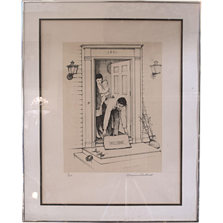 """Norman Rockwell Original Lithograph """"Welcome Mat"""" Number 8 of 200"""