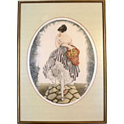 "Louis Icart ""Young Girl with Apple Basket"" Print"
