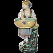 Minton Majolica girl with basket figure