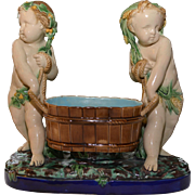 Minton Majolica Putti with Wine Cooler Centrepiece Rare
