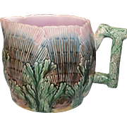"Majolica Etruscan Shell and Seaweed Pitcher 5 3/4"" Large E-26"