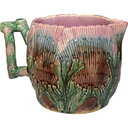 "Majolica Etruscan Shell and Seaweed Pitcher 5 3/4"" Pink Large E-26"