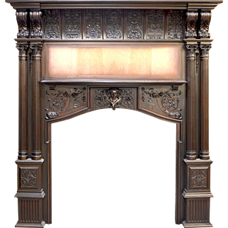 Mahogany Fireplace Mantel Hand Carved by Herter Brothers and owned by Jay Gould