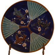Majolica Wedgwood Bird and Fan Plate