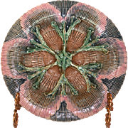 "Majolica Etruscan Shell and Seaweed 8"" Plate ca. 1880's"