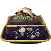 Victorian, circa 1880 English Majolica Sardine Box and Cover Decorated with 2 Fish on Cobalt Ground