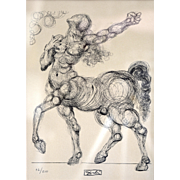 """Salvador Dali """"Horse From Divine Comedy"""" Limited Edition Lithograph #82 of 500 with COA"""