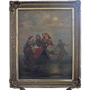 "19th Century Oil Painting Titled ""Dutch Skating"""