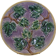 "Majolica Etruscan 9"" Maple Leaf Plate"