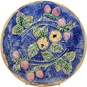 Majolica Etruscan Cobalt Blue Strawberry & Apple Plate