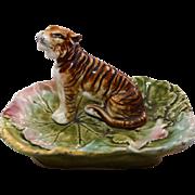 Unusual and Rare Majolica Figural Tiger Dish