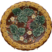 "Majolica Brown Strawberry and Leaves 8 ½"" Plate"