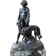 Raffaello Romanelli Bronze Sculpture a woman with Russian wolfhound