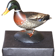 Miniature Carved and Painted Mallard Figure by A. Elmer Crowell 1939