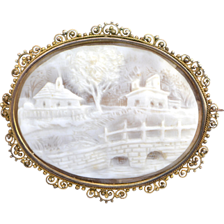 Antique Cameo Brooch with Carved Landscape Scene