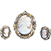 Antique Cameo Pendant Pin Brooch and Matching Earrings