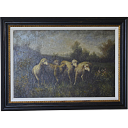 Antique Oil on Canvas Grazing Sheep Indistinctly Signed