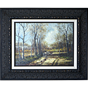 Antique Landscape Oil on Canvas by N. Birch