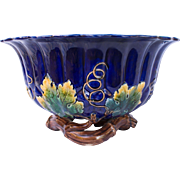 Large Majolica Cobalt Jardiniere with Maple Leaves