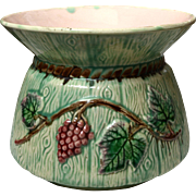 Antique Majolica Grape and Leaf Cuspidor
