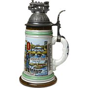 Antique German Beer Stein Regiment 3. Pionier Battalion, 1911-1913 w/Lithopane of a Nude Women