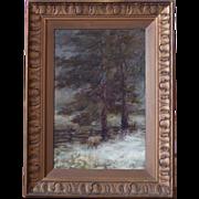 Martha E. Waddell Landscape Oil on Board