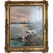 Hunting Dog on Point by C. Flety 1905 European Oil on Canvas