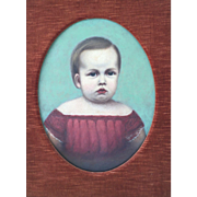 Folk Art Portrait of a Child Painting Oil on Canvas Circa 1850