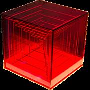 "Edgar Lamas titled Box Construction 8"" cube plexiglas 1969"