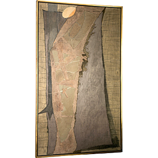 """Lee Gatch Natural Stone and Mix Media on Wood Titled """"Sebastian"""" ca. 1962"""