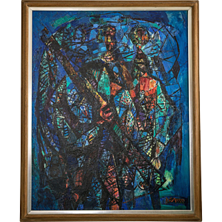 """Abraham Rattner Oil on Canvas Titled """"Figures with Nets"""" Signed ca. 1951"""