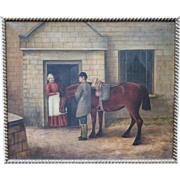 European Folk Art Painting Oil on Canvas unsigned ca 1886