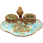 George Jones Majolica Finch with Nests Strawberry Server ca. 1880's Very Rare