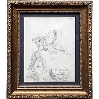 """Reginald Marsh """"Nude Studies"""" Pen and ink 1952 Provenance Christie's East"""