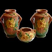 Roseville Pottery Peony Vases