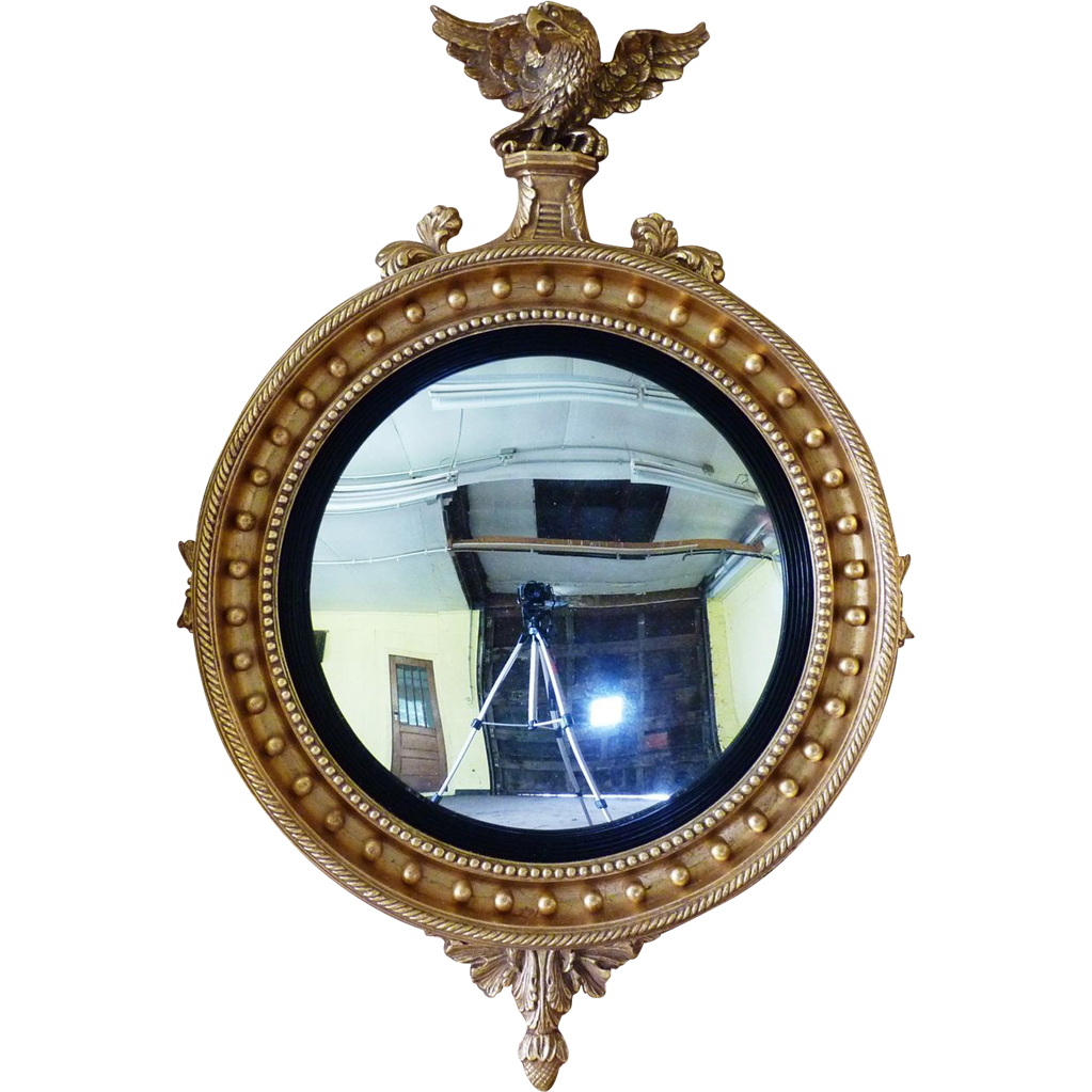 Large Regency Convex Mirror In Carved And Guilded Wood