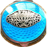 French Art Deco Silver and Blue Enamel Compact Vintage Accessory