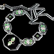 NOW SOLD Art Deco Necklace Green Enamel Silver Flower Black Onyx Vintage Jewelry